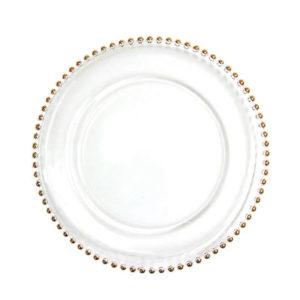 location assiette de présentation perle or